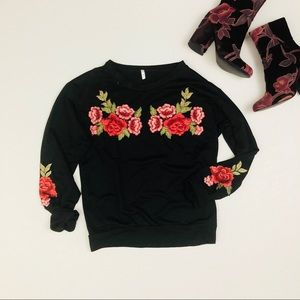 Tops - Boutique long sleeve embroidered floral sweatshirt